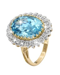 9ct Gold 6ct Blue Topaz & Diamond Ring