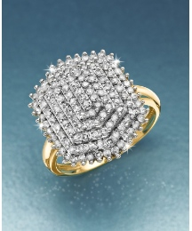 9ct Gold 1ct Diamond Cluster Ring