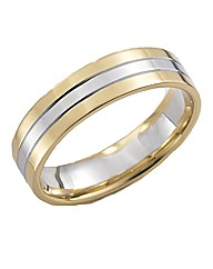 9 Carat Gold Gents Two-Tone Wedding Band