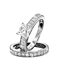Sterling Silver Cubic Zirconia Ring Set