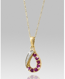 9ct Gold Ruby & Diamond Set Pendant
