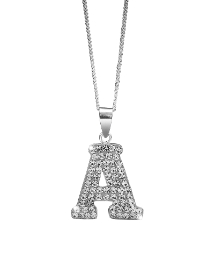 Sterling Silver Crystal Initial Pendant