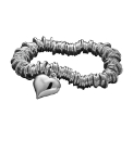 Sterling Silver Jump-Ring Heart Bracelet