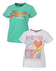Kickers Ladies Pk of Two Logo Tees