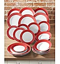 24 Piece Banded Dinnerware Red