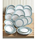 24 Piece Banded Dinnerware Set Soft Blue
