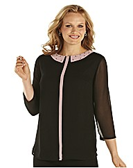 Ava By Mark Heyes Contrast Collar Blouse
