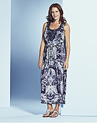 MonoPaisley Maxi Dress With Crochet Trim