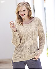 High-Low Cable Knit Tunic Jumper