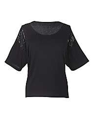 Changes Boutique Lace Insert Top
