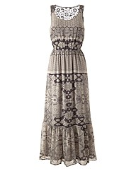Lazy Lu Crochet Back Chiffon Maxi Dress