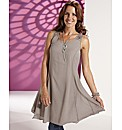 Lazy Lu Crochet Back Shaped Hem Tunic