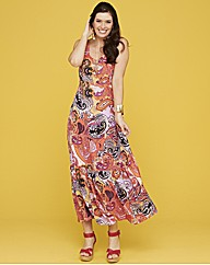 Paisley Print Maxi Dress Length 52in
