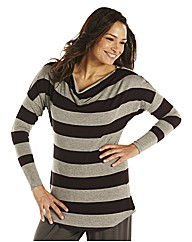 Lazy Lu Cowl Neck Stripe Jersey Top