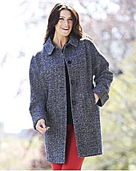 Black Cream Donegal Tweed Coat