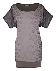 Animal Print Top Cut Out Shoulder Top