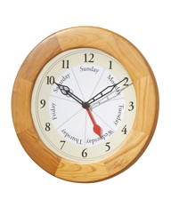 Days of the Week Clock Wood Finish