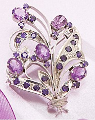 Amethyst Flower Brooch