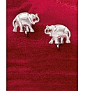 Silver and Garnet Elephant Clip Earrings