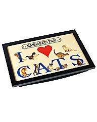 I Love Cats Laptray Personalised