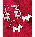 Sterling Silver Pet Shaped Clip Earrings