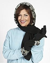 Fur Trim Fleece Hoodscarf and Gloves