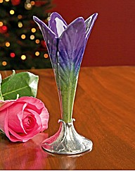 Porcelain and Pewter Lily Bud Vase