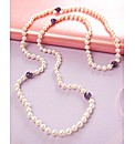 Endless Pearl and Amethys Necklace 36in