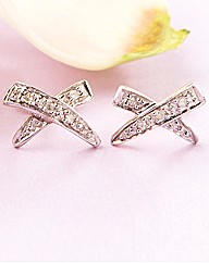 9ct Gold Diamond Cross Earrings