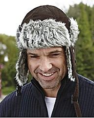 Cord Trapper Hat with Faux Fur Trim