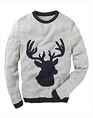 Label J Reindeer Crew Neck Jumper