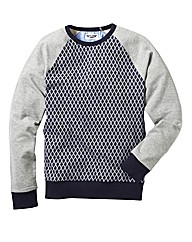 Label J Contrast Crew Neck Sweat Long