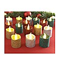 Set Of 16 Glitter LED Candles