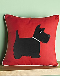 Scottie Dog Piped Filled Cushion