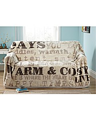 Luxury Vintage Words Fleece Throwover