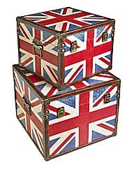 Set of 2 Decorative Union Jack Boxes