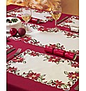 Poinsettia Runner and Placemats Set