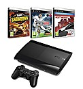 PS3 500GB Super Slim Console + 3 Games