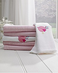 Lollipop Lane Pink Bird Muslin Squares