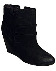Cafe Noir Black Wedge Ankle Boots