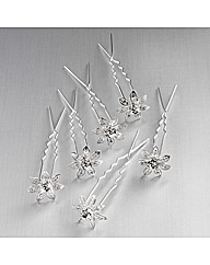 Silver Coloured Clear Glass Stone Pins