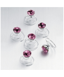 Set of 6 Pink Glass Stone Swirls