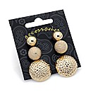 Three Pairs Gold Effect Stud Earrings