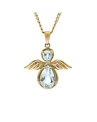 9ct Gold Blue Topaz Angel Pendant