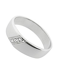 9ct White Gold Diamond Message Ring