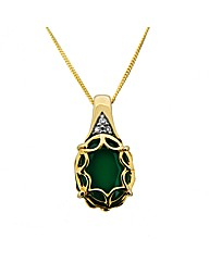 9ct  Diamond and Agate Pendant