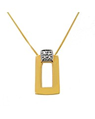 9ct Gold Rectangle Diamond Set Pendant