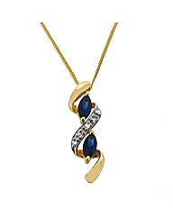 9ct  Gold Diamond and Sapphire Pendant