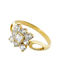 9ct Yellow Gold CZ Square Ring