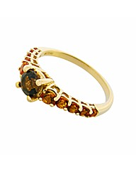 9ct YG Citrine and Smokey Ring